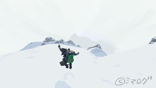 雪山で飛び跳ねてピースするサムのイラスト